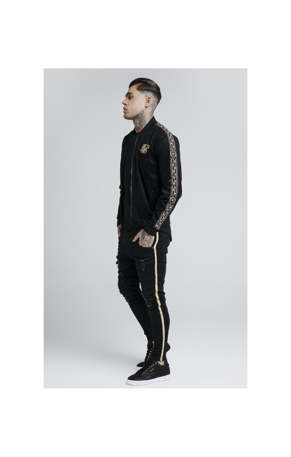 Load image into Gallery viewer, SikSilk Cartel Suede Bomber – Black (3)