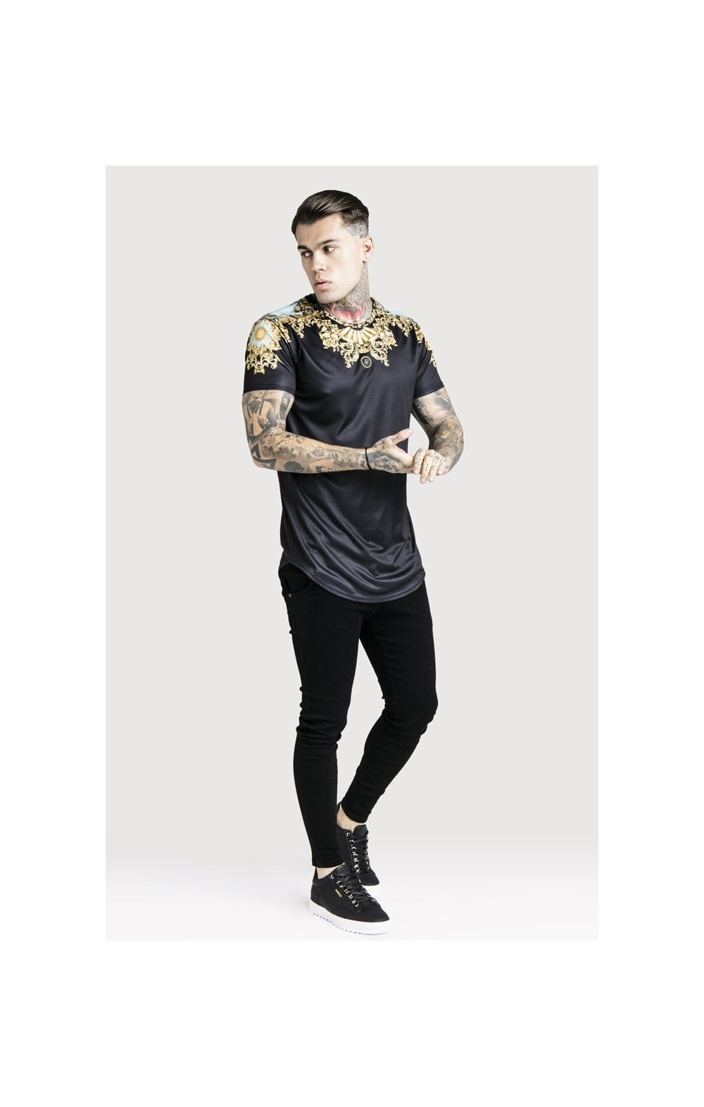 SikSilk x Dani Alves Lord Curved Hem Tee - Black (3)
