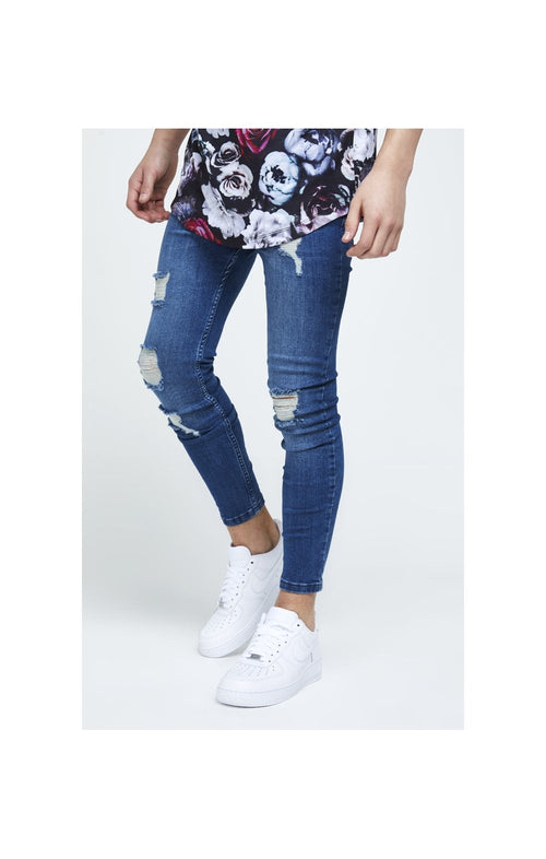 Illusive London Skinny Distressed Denims - Mid-Stone Blue
