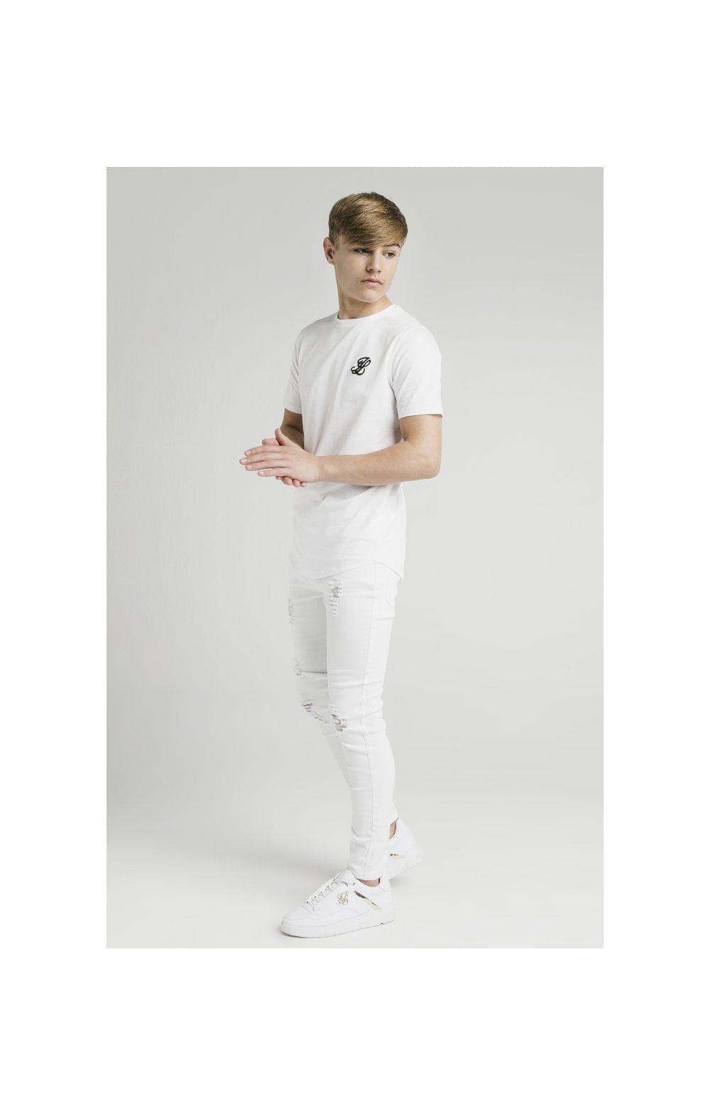 Load image into Gallery viewer, Illusive London Curved Hem Tee - White (4)