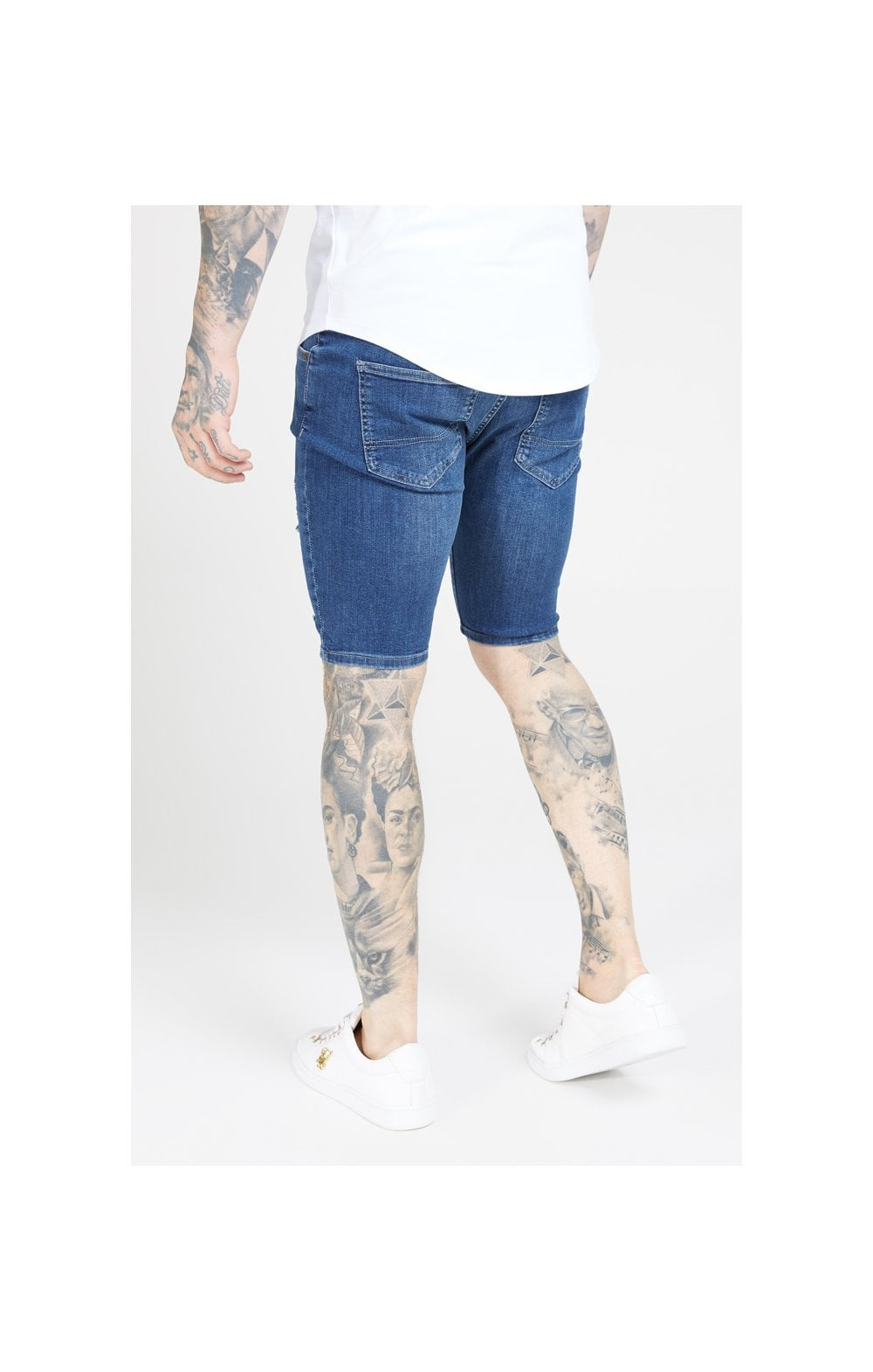 SikSilk Distressed Skinny Shorts – Midstone (1)