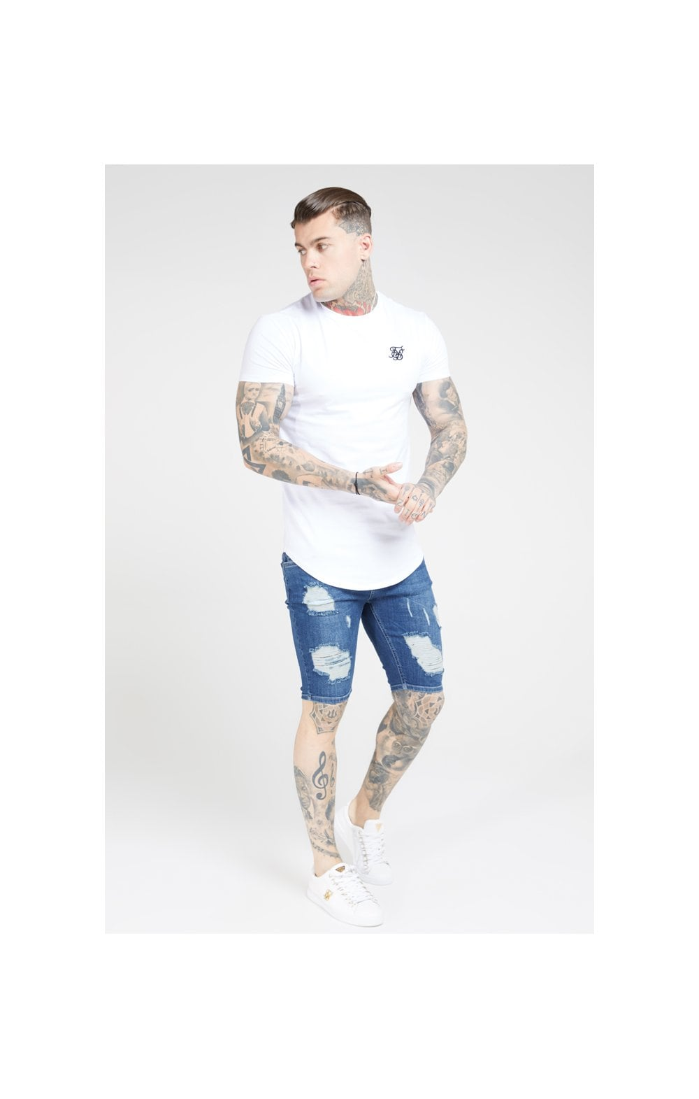 SikSilk Distressed Skinny Shorts – Midstone (3)