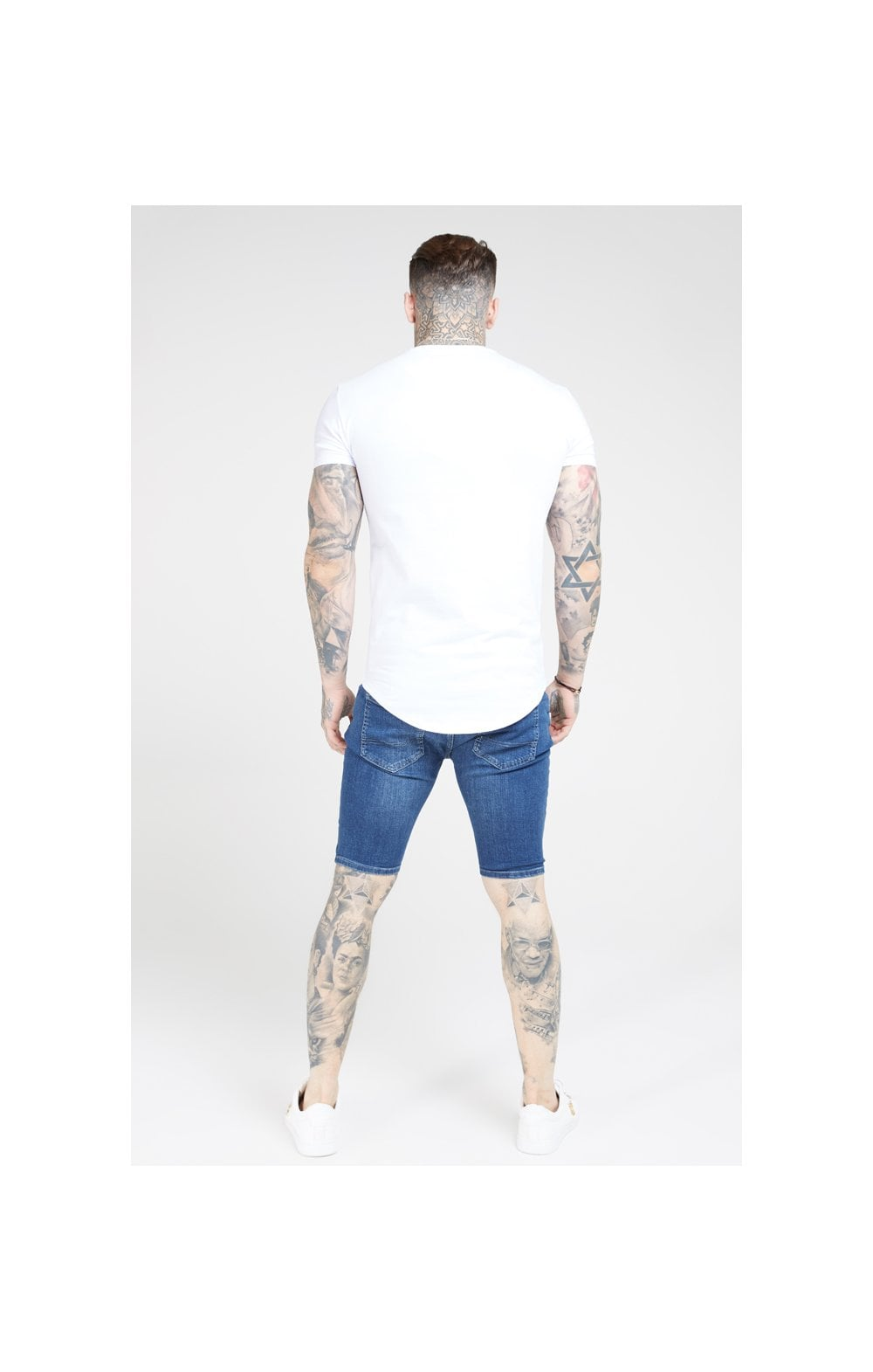 SikSilk Distressed Skinny Shorts – Midstone (5)