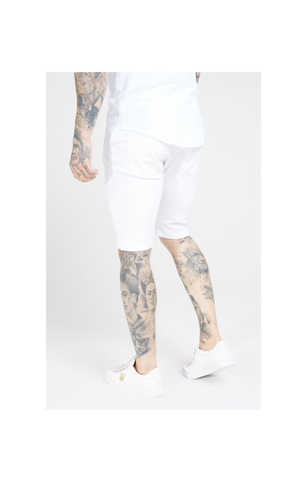 Load image into Gallery viewer, SikSilk Distressed Skinny Shorts – White (1)
