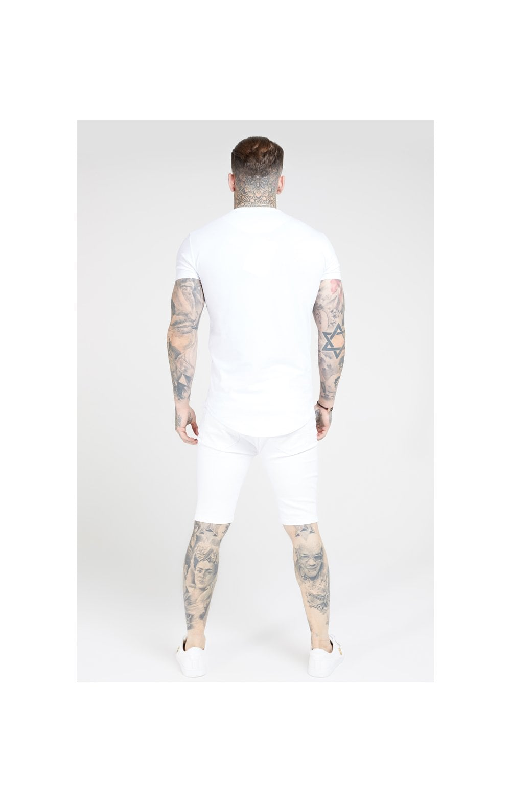Load image into Gallery viewer, SikSilk Distressed Skinny Shorts – White (4)
