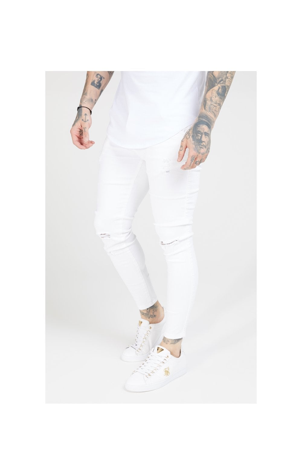 Load image into Gallery viewer, SikSilk Skinny Distressed Denim – White