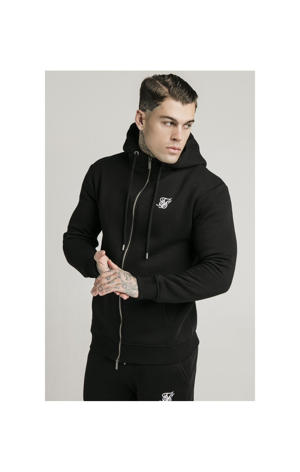 Load image into Gallery viewer, SikSilk Zip Through Funnel Neck Hoodie - Black