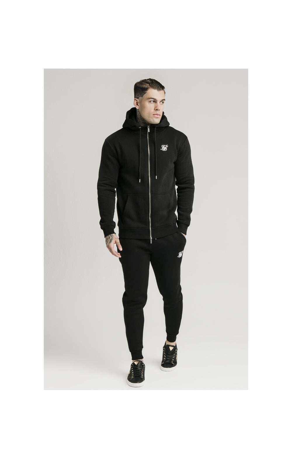 Load image into Gallery viewer, SikSilk Zip Through Funnel Neck Hoodie - Black (3)