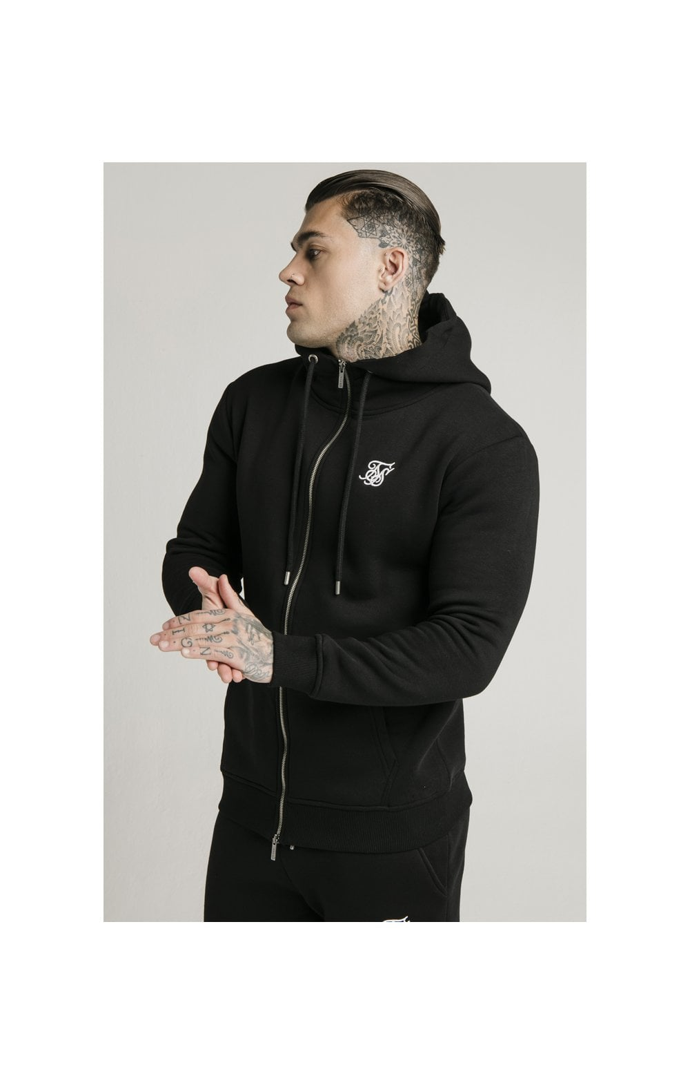 Load image into Gallery viewer, SikSilk Zip Through Funnel Neck Hoodie - Black (4)