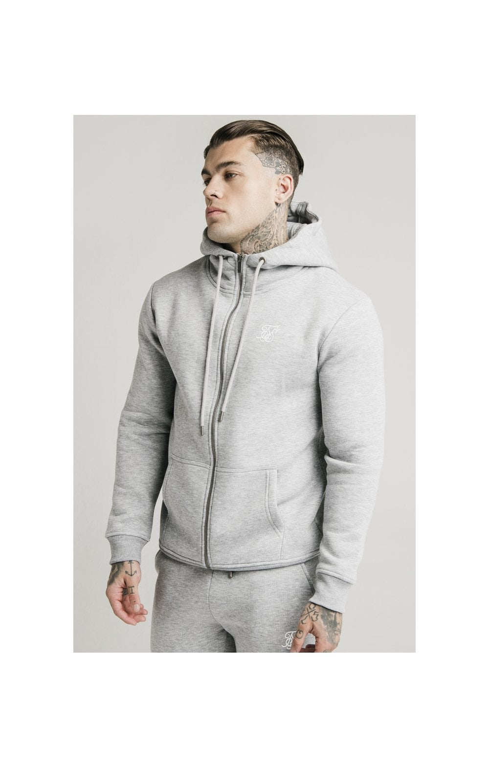 Load image into Gallery viewer, SikSilk Zip Through Funnel Neck Hoodie - Grey Marl