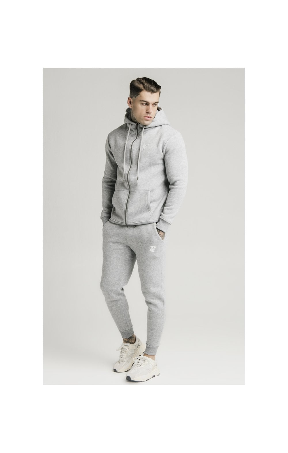 Load image into Gallery viewer, SikSilk Zip Through Funnel Neck Hoodie - Grey Marl (2)