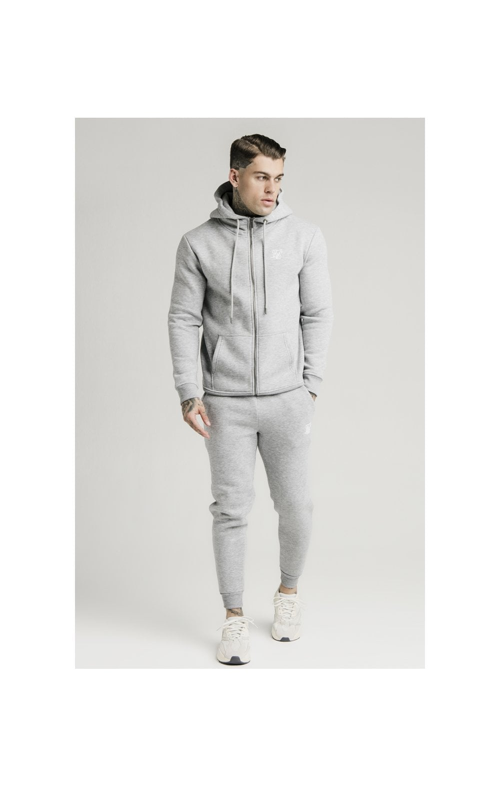 Load image into Gallery viewer, SikSilk Zip Through Funnel Neck Hoodie - Grey Marl (3)