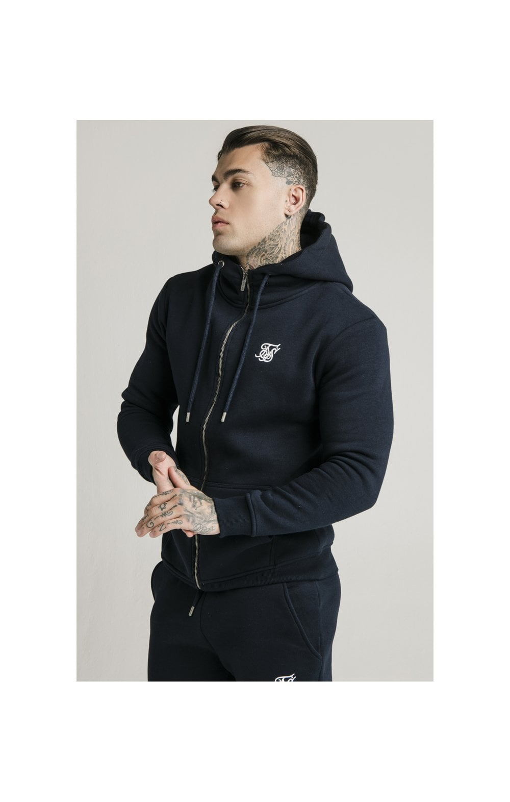SikSilk Zip Through Funnel Neck Hoodie - Navy