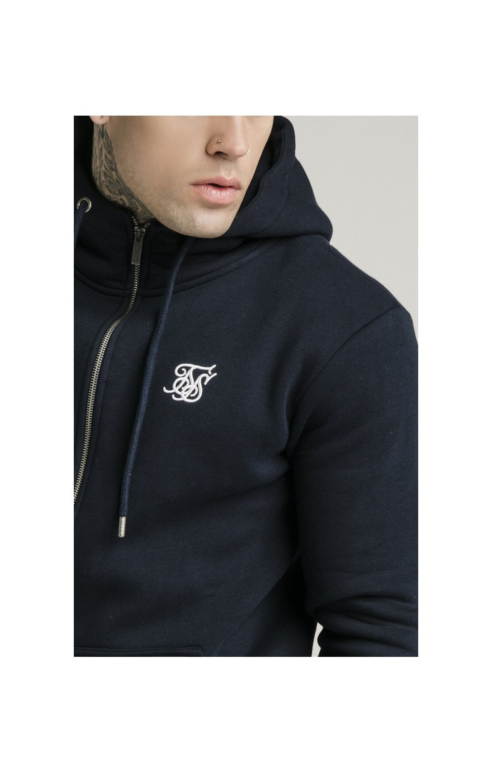 SikSilk Zip Through Funnel Neck Hoodie - Navy (1)