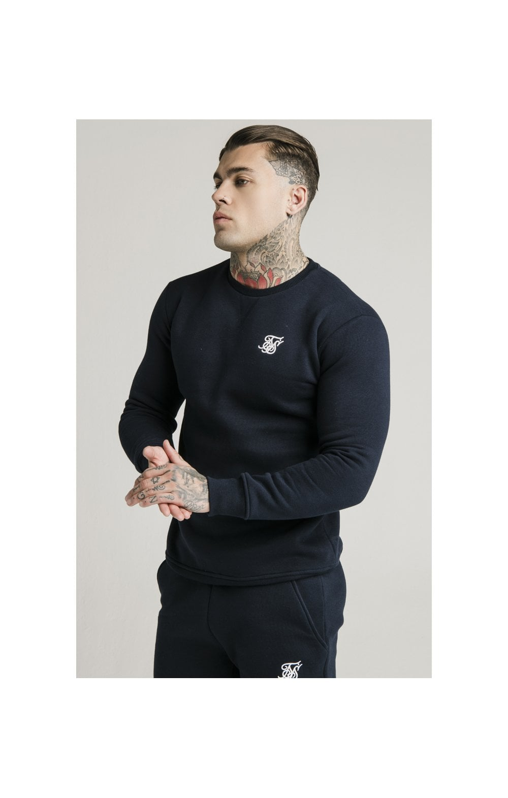 SikSilk Crew Sweat - Navy