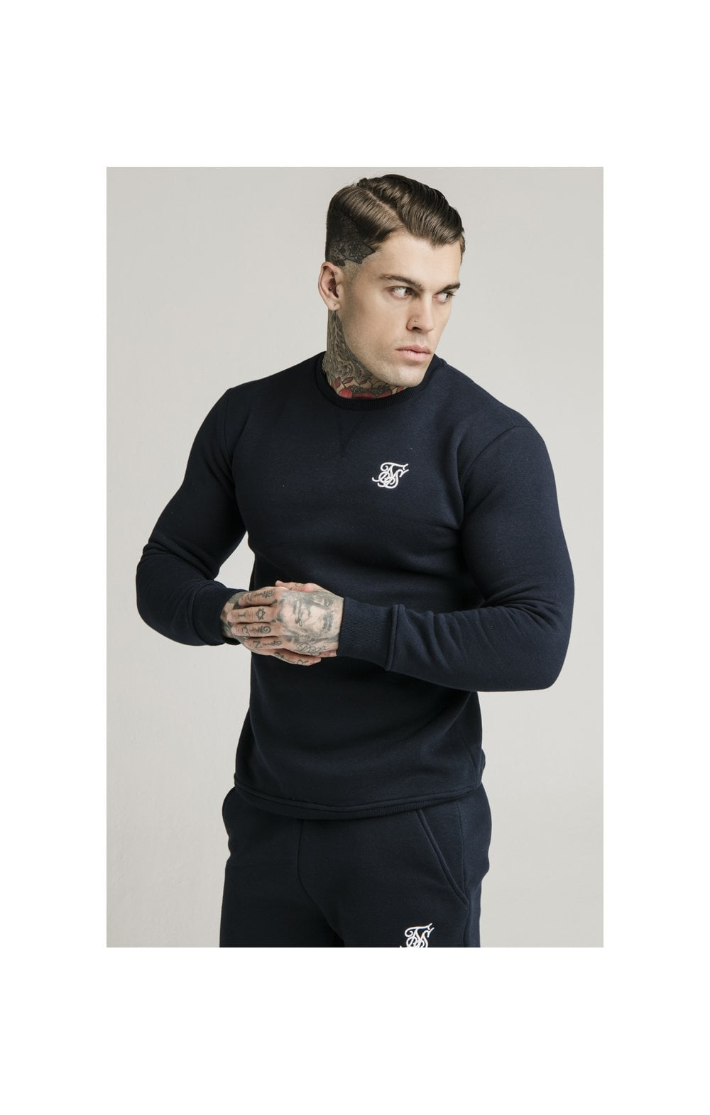 SikSilk Crew Sweat - Navy (1)