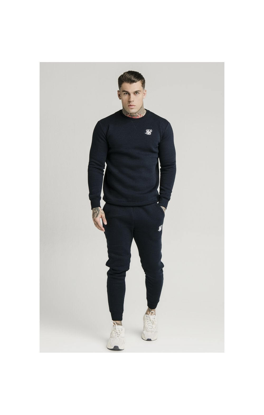 SikSilk Crew Sweat - Navy (2)