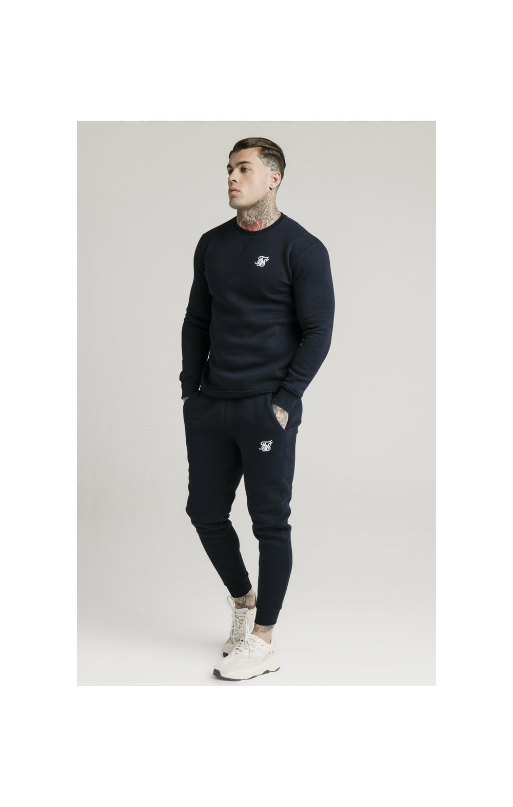 SikSilk Crew Sweat - Navy (3)