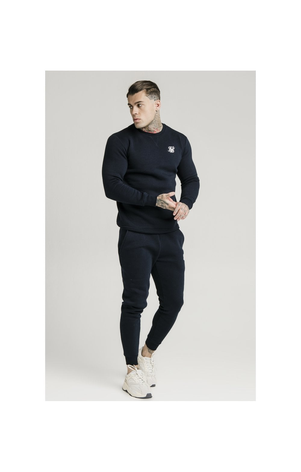 SikSilk Crew Sweat - Navy (4)