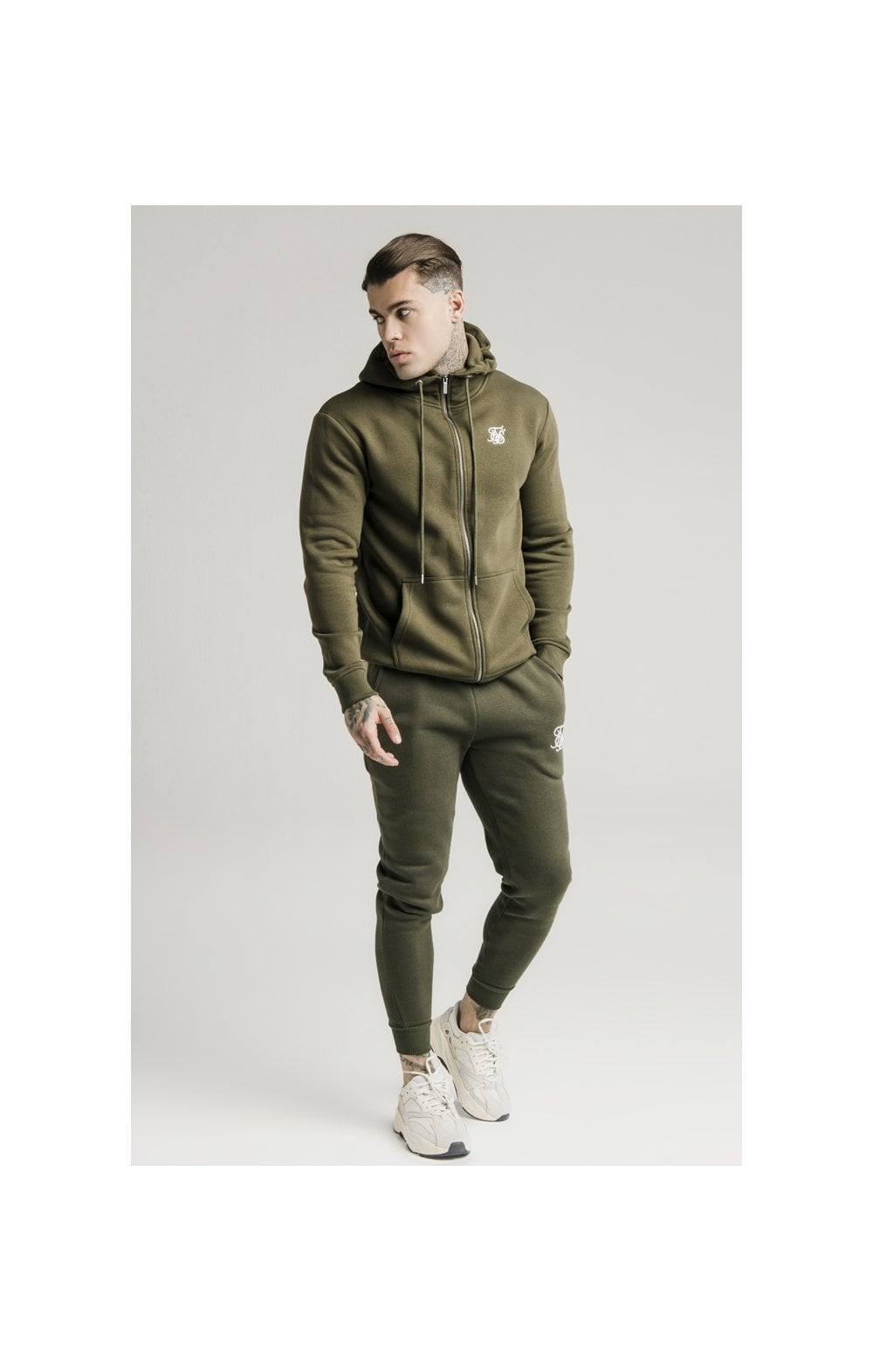 SikSilk Zip Through Funnel Neck Hoodie - Khaki (1)