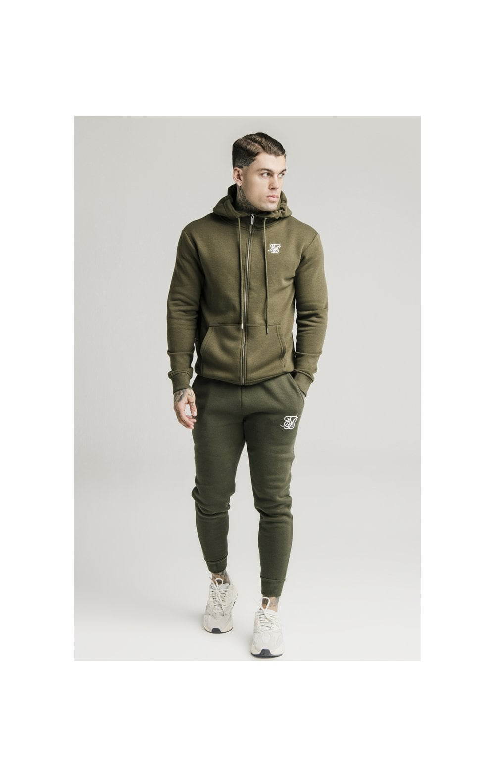 SikSilk Zip Through Funnel Neck Hoodie - Khaki (4)