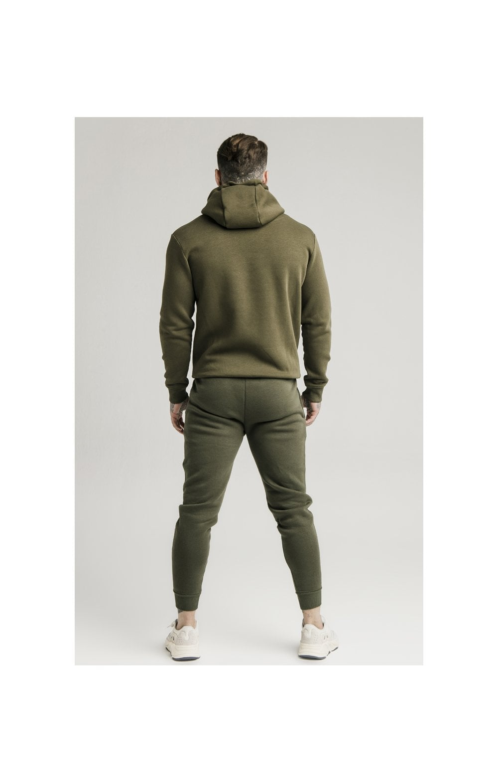 SikSilk Zip Through Funnel Neck Hoodie - Khaki (5)