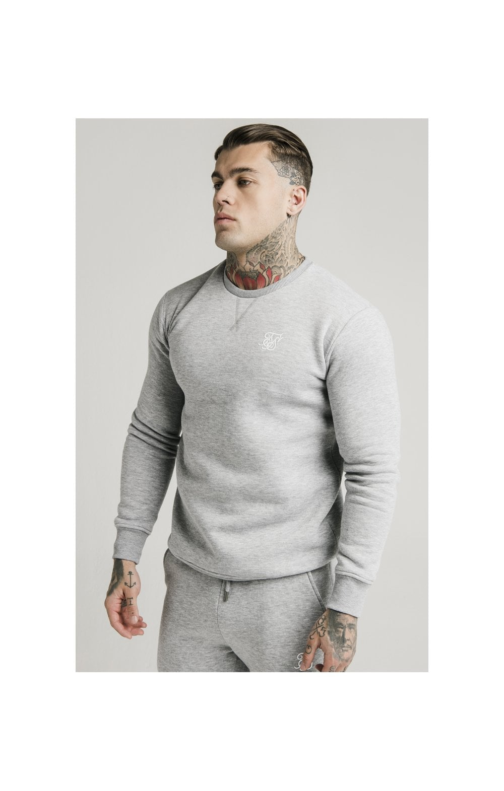 SikSilk Crew Sweat - Grey Marl