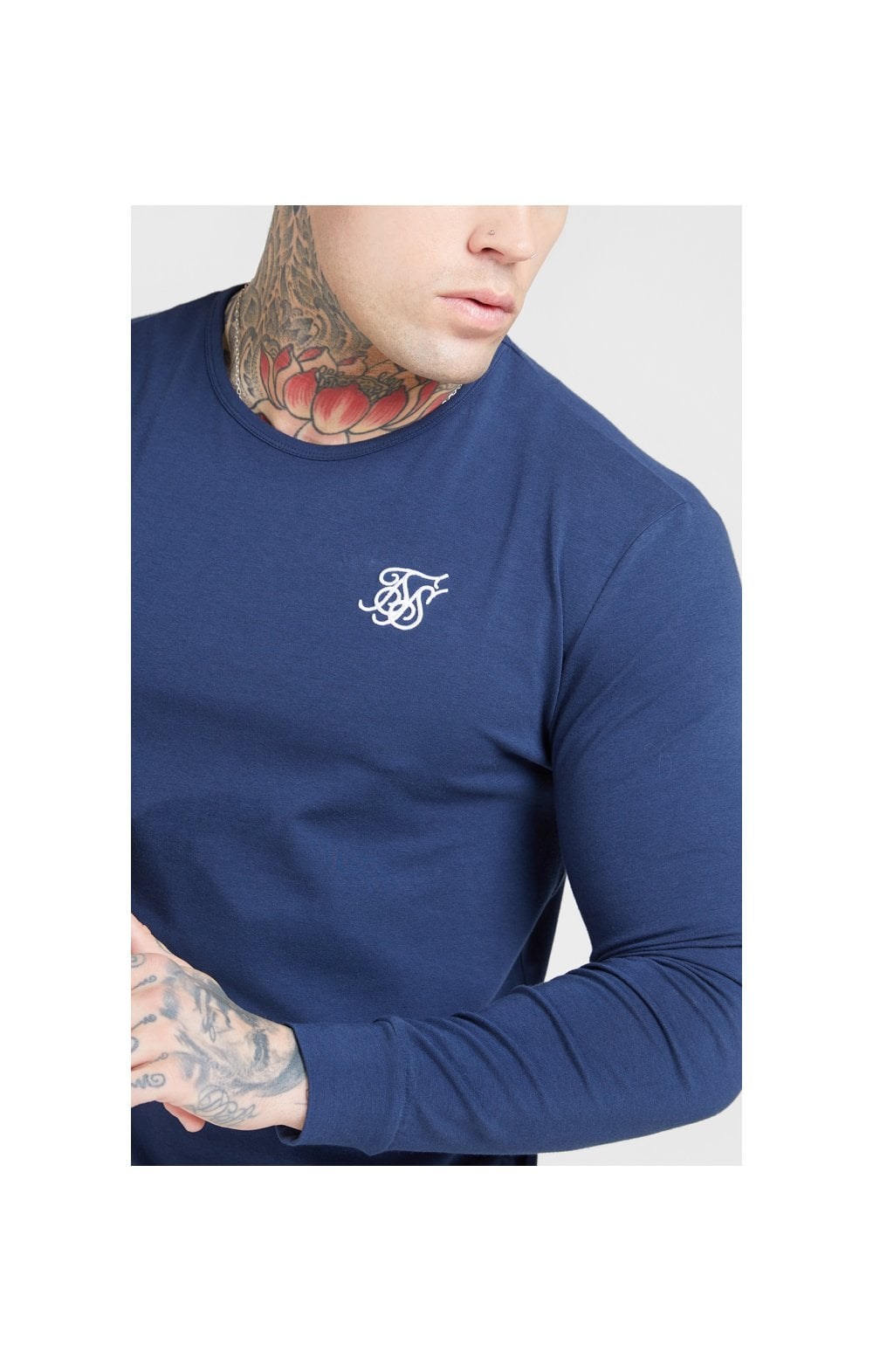SikSilk L/S Core Gym Tee – Navy