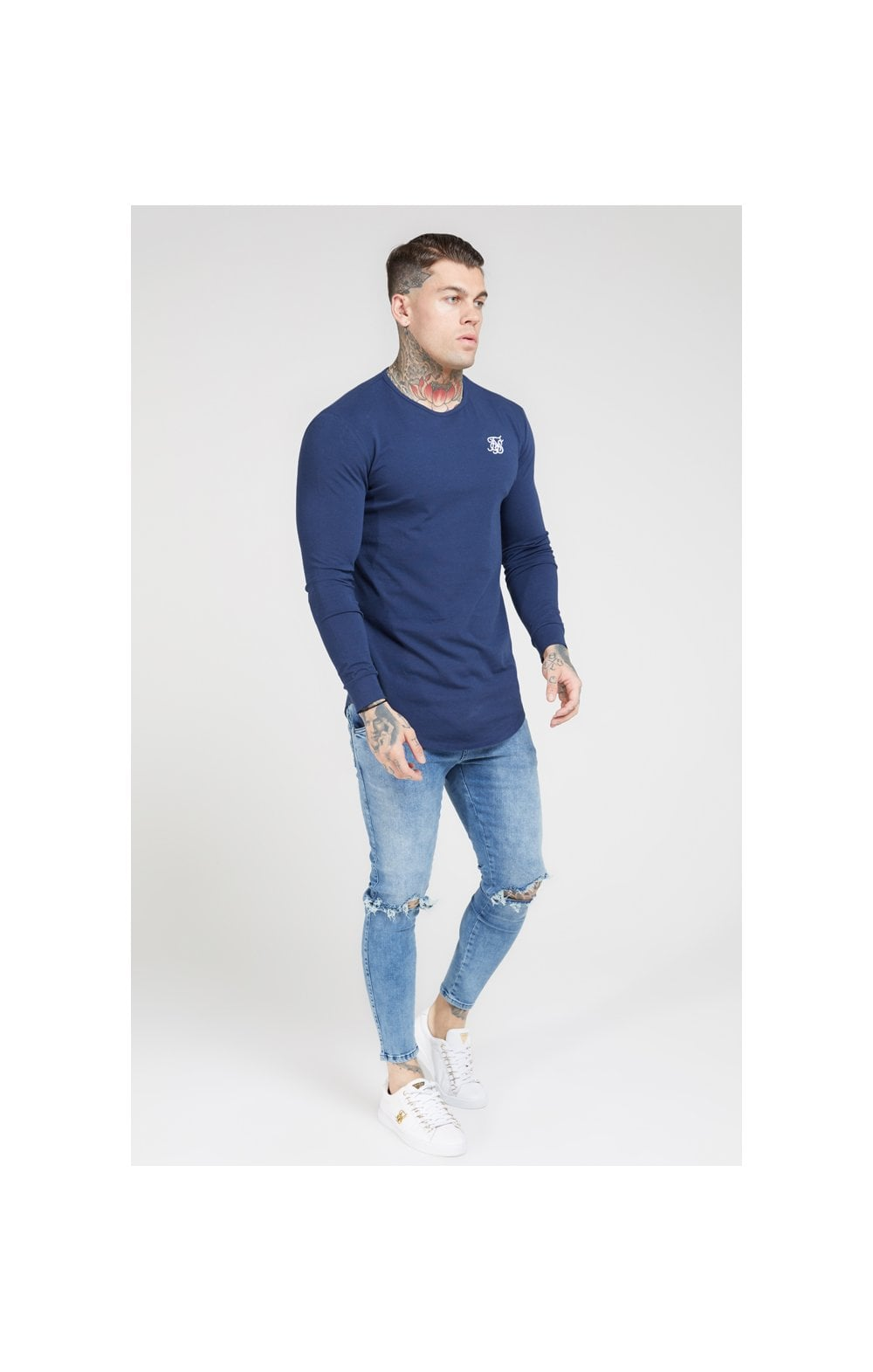 SikSilk L/S Core Gym Tee – Navy (2)