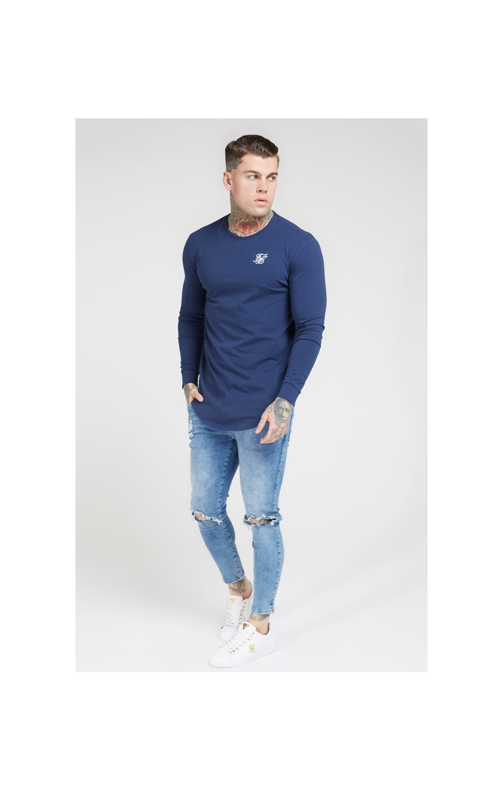 SikSilk L/S Core Gym Tee – Navy (3)