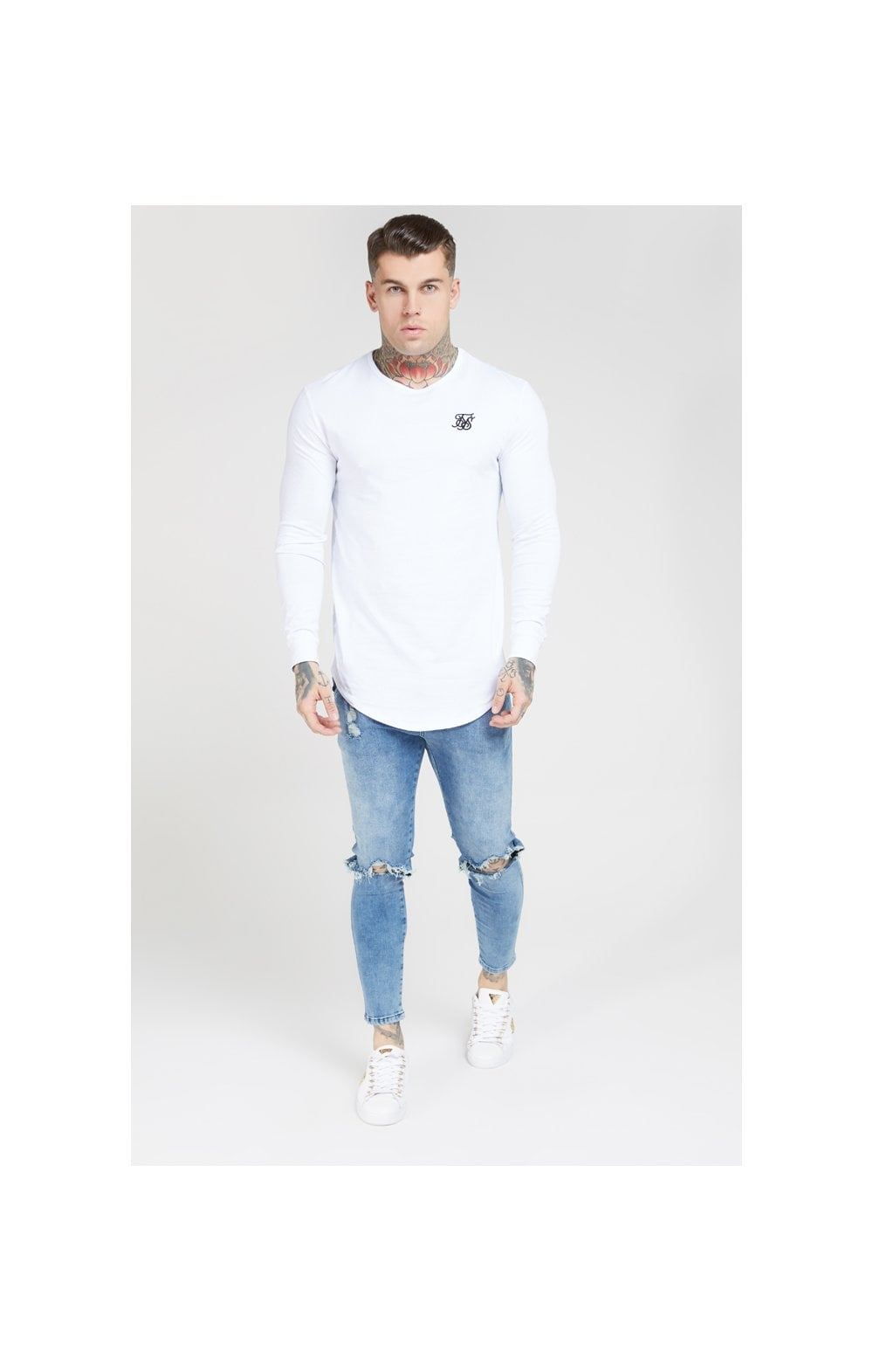 Load image into Gallery viewer, SikSilk L/S Core Gym Tee White (2)