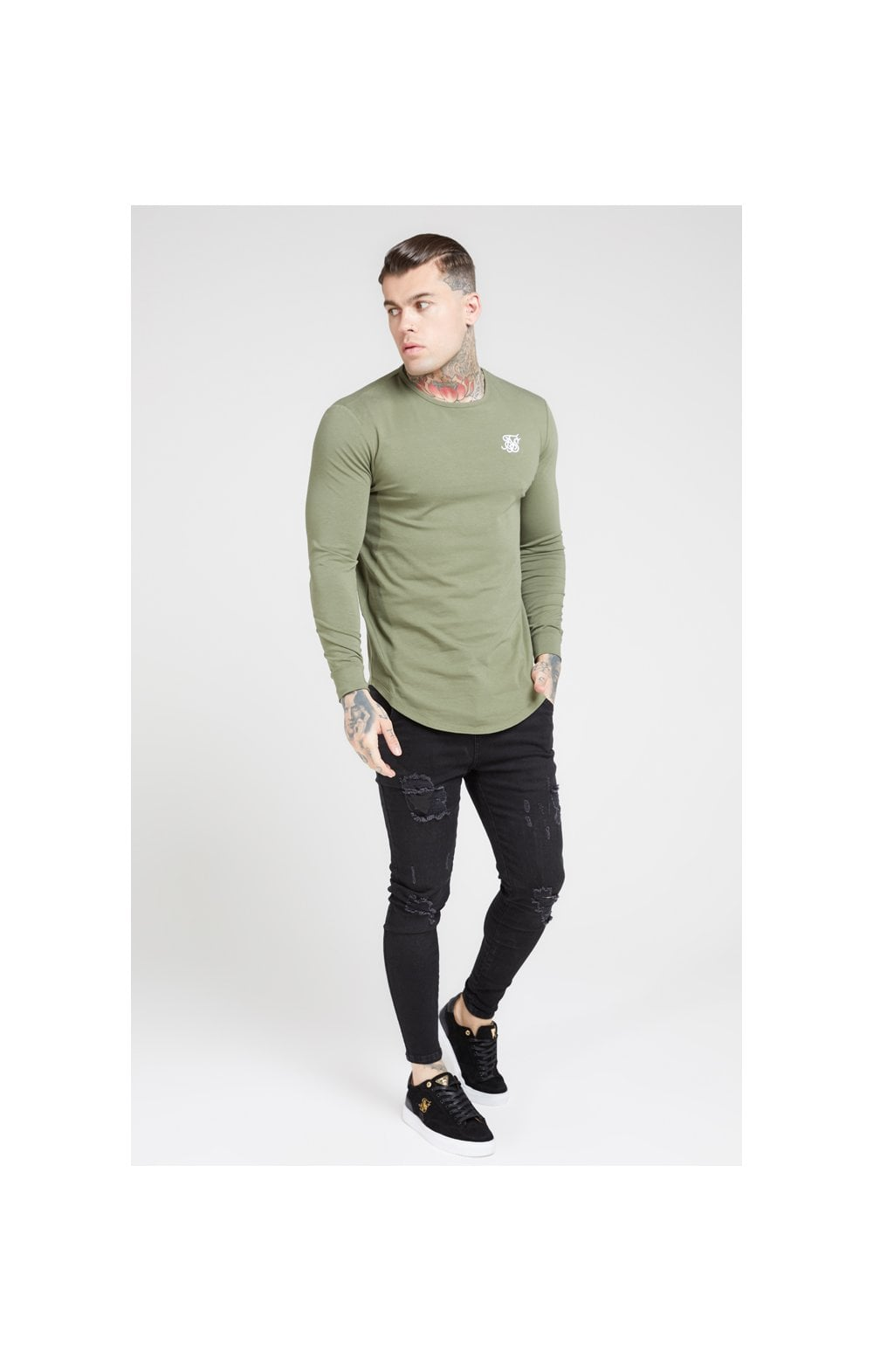 Load image into Gallery viewer, SikSilk L/S Core Gym Tee – Khaki (2)