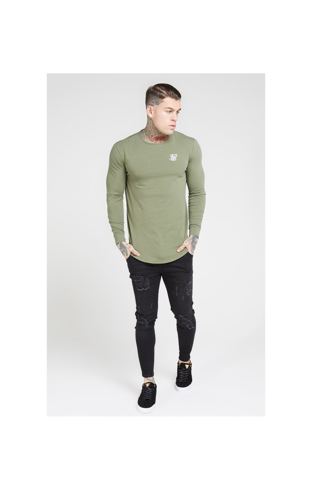 Load image into Gallery viewer, SikSilk L/S Core Gym Tee – Khaki (3)