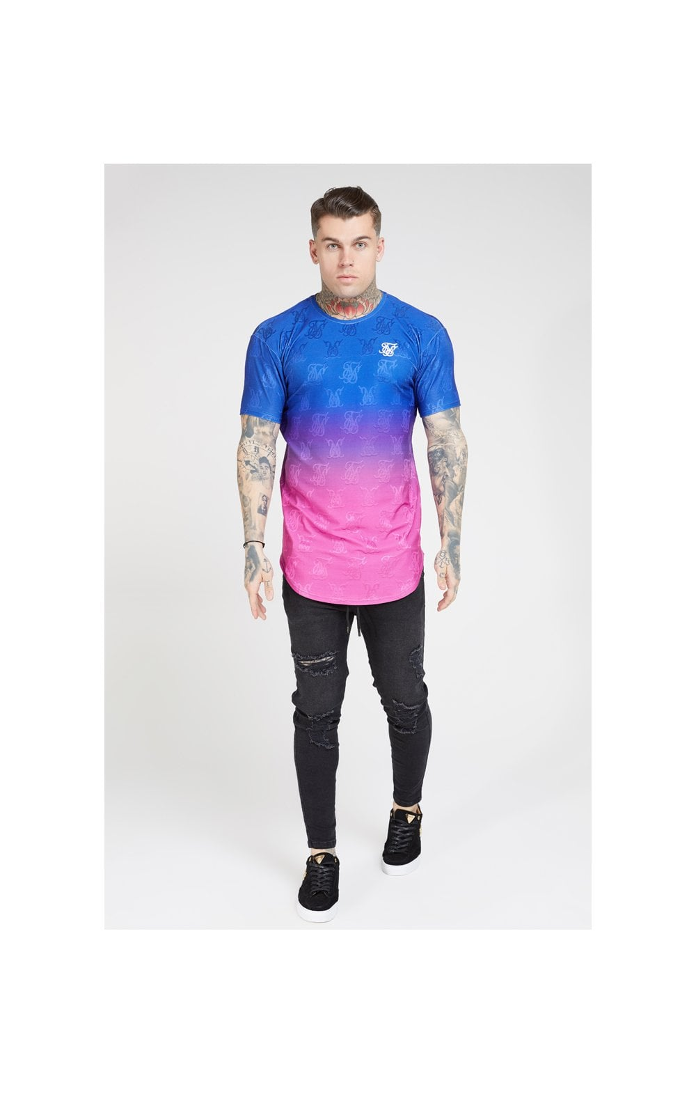 Load image into Gallery viewer, SikSilk Monogram Fade Gym Tee – Blue Neon (1)