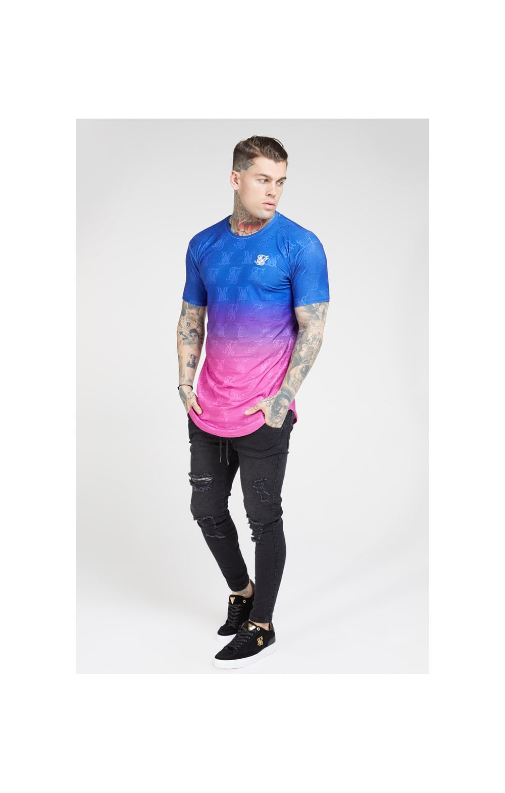 Load image into Gallery viewer, SikSilk Monogram Fade Gym Tee – Blue Neon (3)