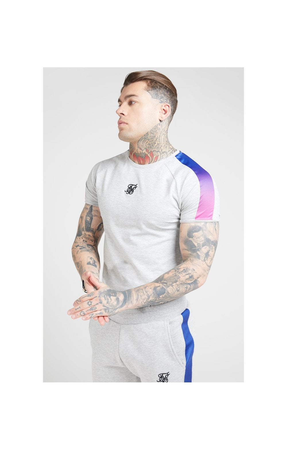 SikSilk S/S Marl Fade Panel Tech Tee – Grey Marl & Neon (1)