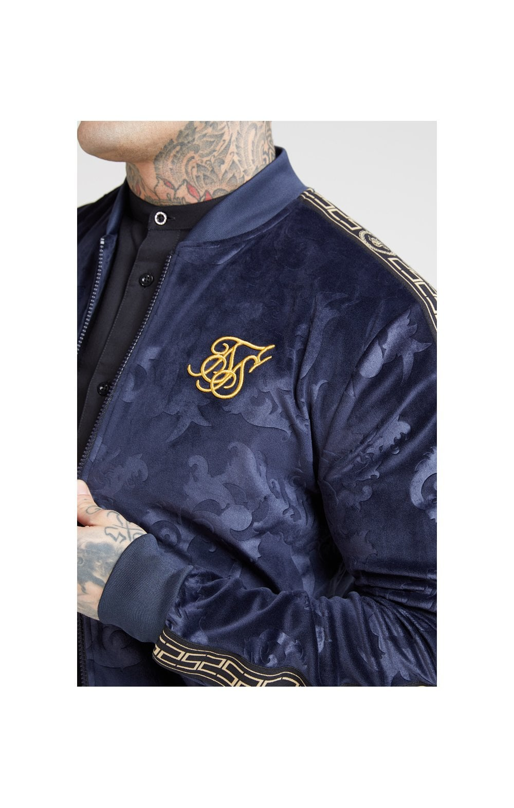 Load image into Gallery viewer, SikSilk Debossed Velour Bomber Jacket – Navy