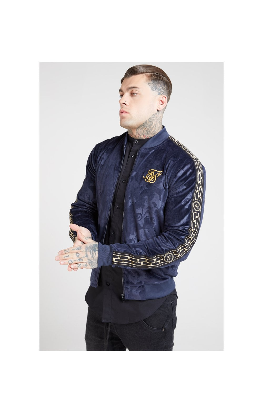 Load image into Gallery viewer, SikSilk Debossed Velour Bomber Jacket – Navy (1)