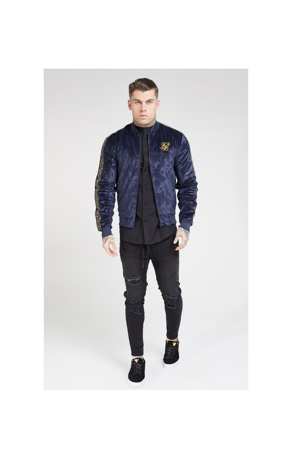 Load image into Gallery viewer, SikSilk Debossed Velour Bomber Jacket – Navy (3)