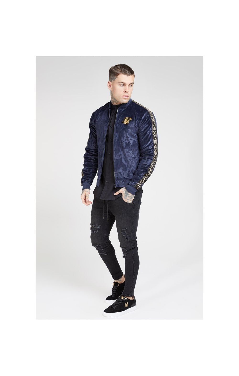 Load image into Gallery viewer, SikSilk Debossed Velour Bomber Jacket – Navy (2)