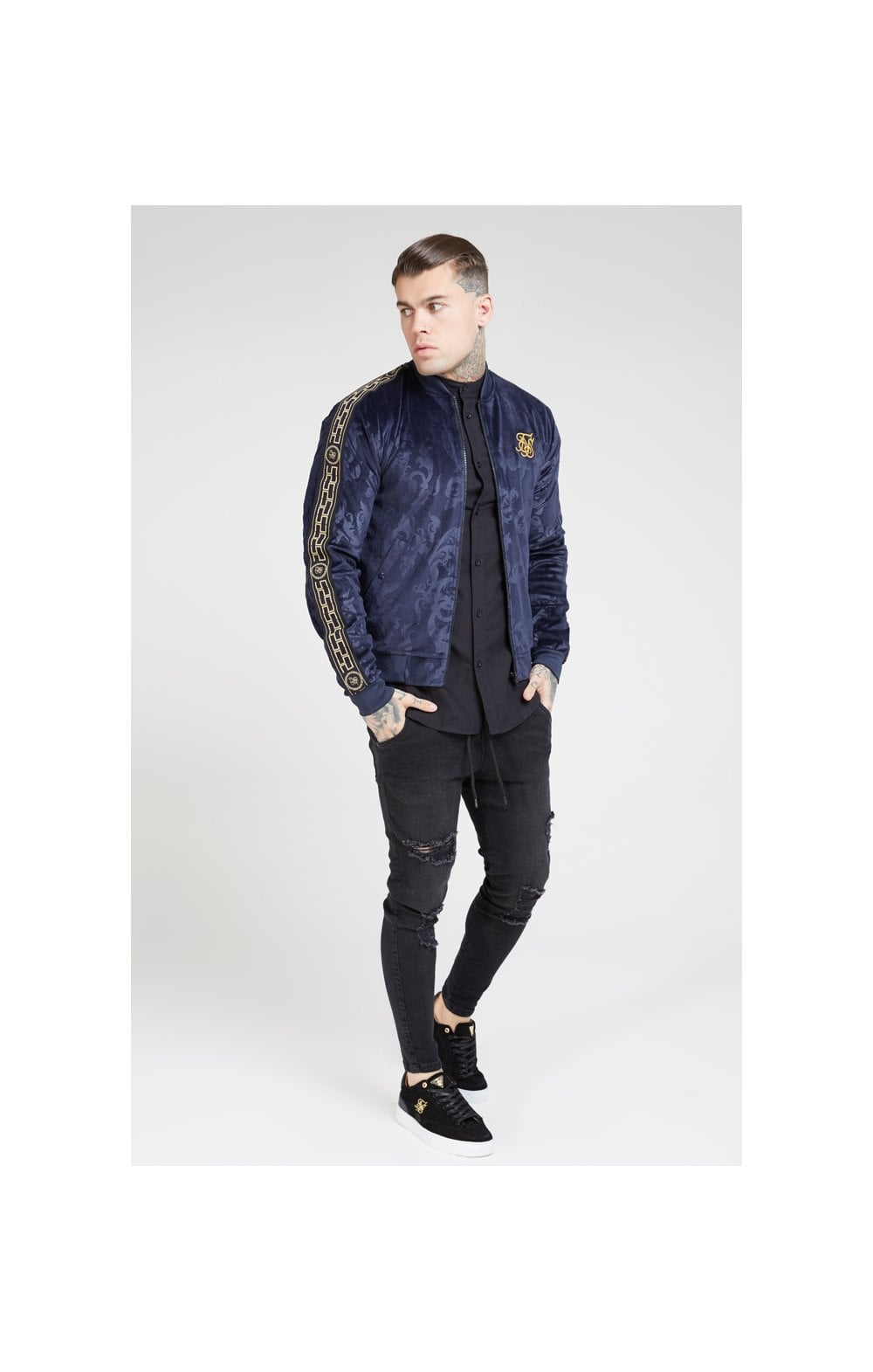 Load image into Gallery viewer, SikSilk Debossed Velour Bomber Jacket – Navy (4)