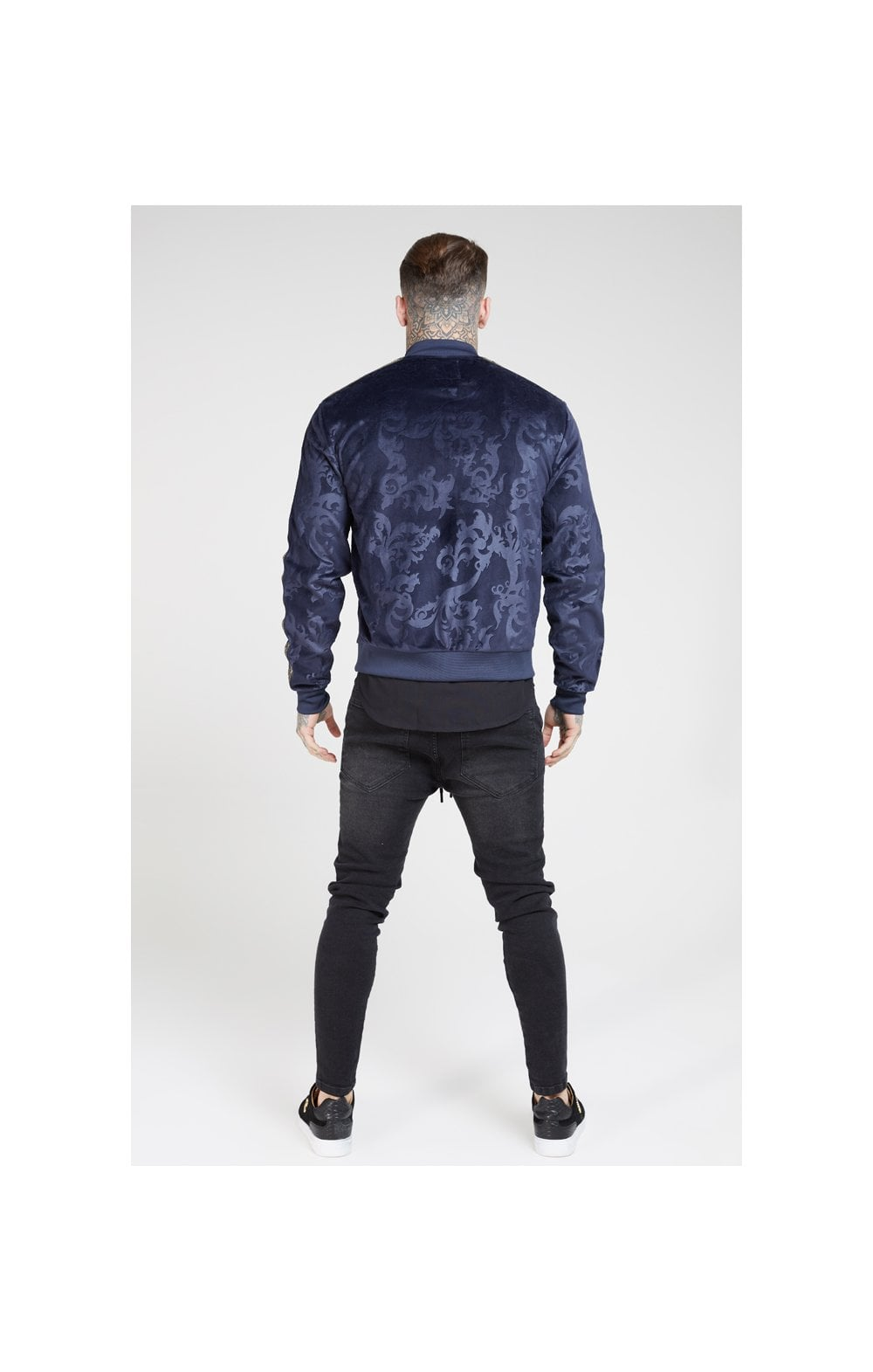 Load image into Gallery viewer, SikSilk Debossed Velour Bomber Jacket – Navy (5)