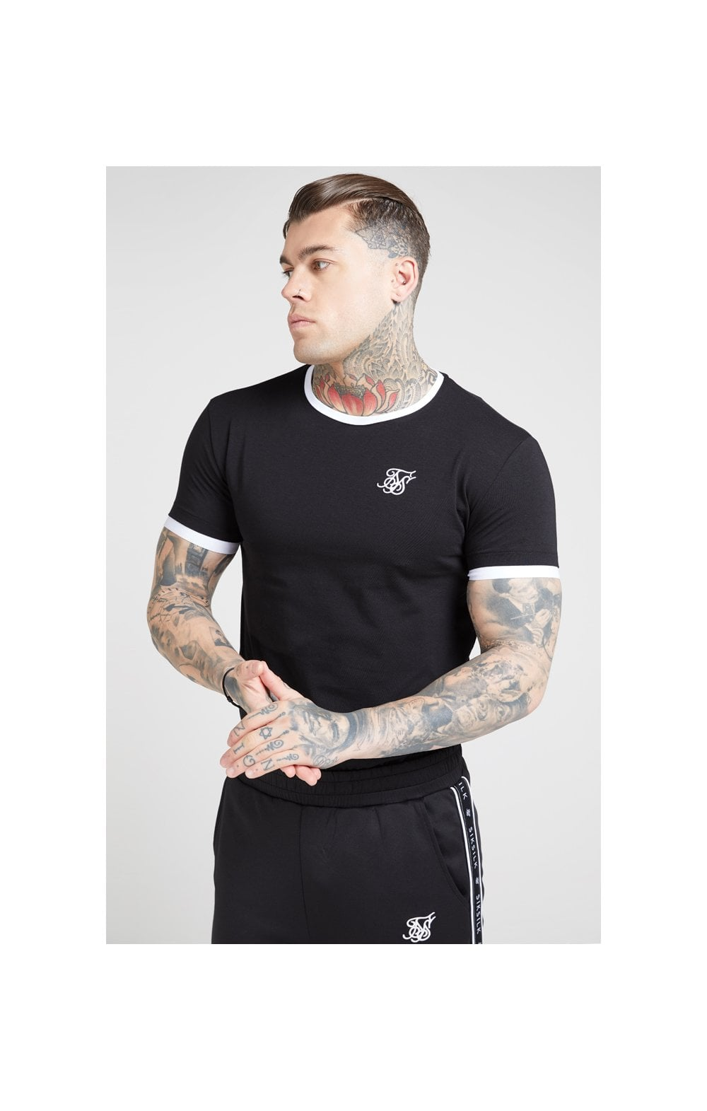 SikSilk S/S Inset Straight Hem Ringer Gym Tee – Black & White (1)