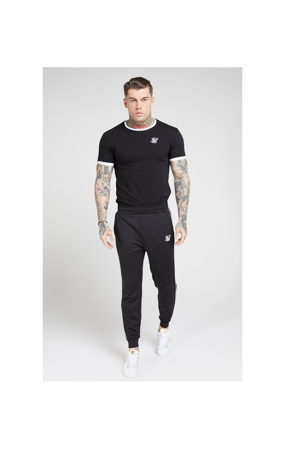 SikSilk S/S Inset Straight Hem Ringer Gym Tee – Black & White (2)