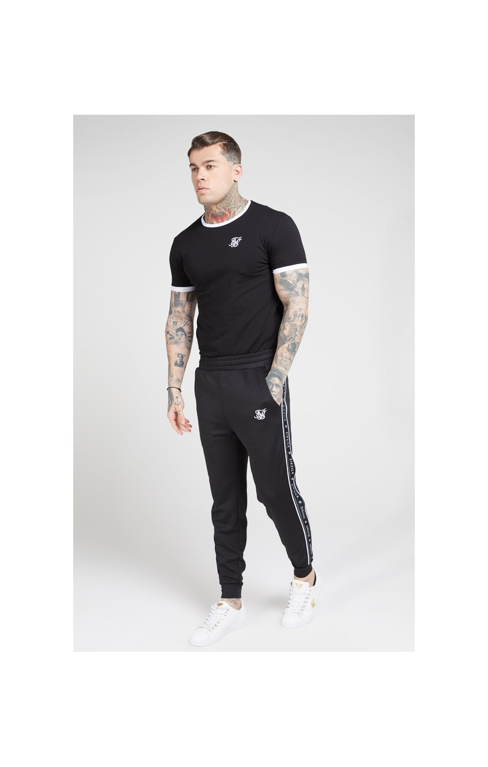 SikSilk S/S Inset Straight Hem Ringer Gym Tee – Black & White (3)