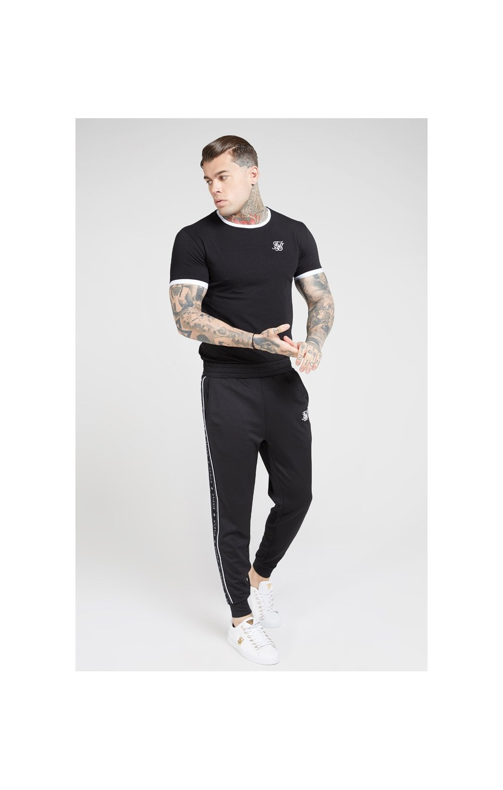 SikSilk S/S Inset Straight Hem Ringer Gym Tee – Black & White (4)
