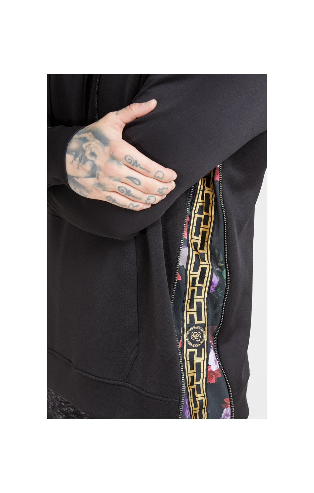 SikSilk Side Zip Tape Hybrid Hoodie - Black & Oil Paint