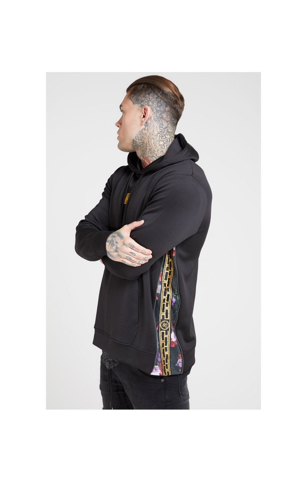 SikSilk Side Zip Tape Hybrid Hoodie - Black & Oil Paint (1)