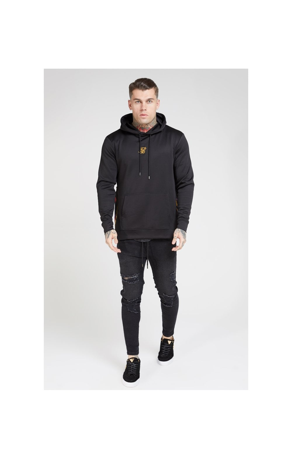 SikSilk Side Zip Tape Hybrid Hoodie - Black & Oil Paint (2)