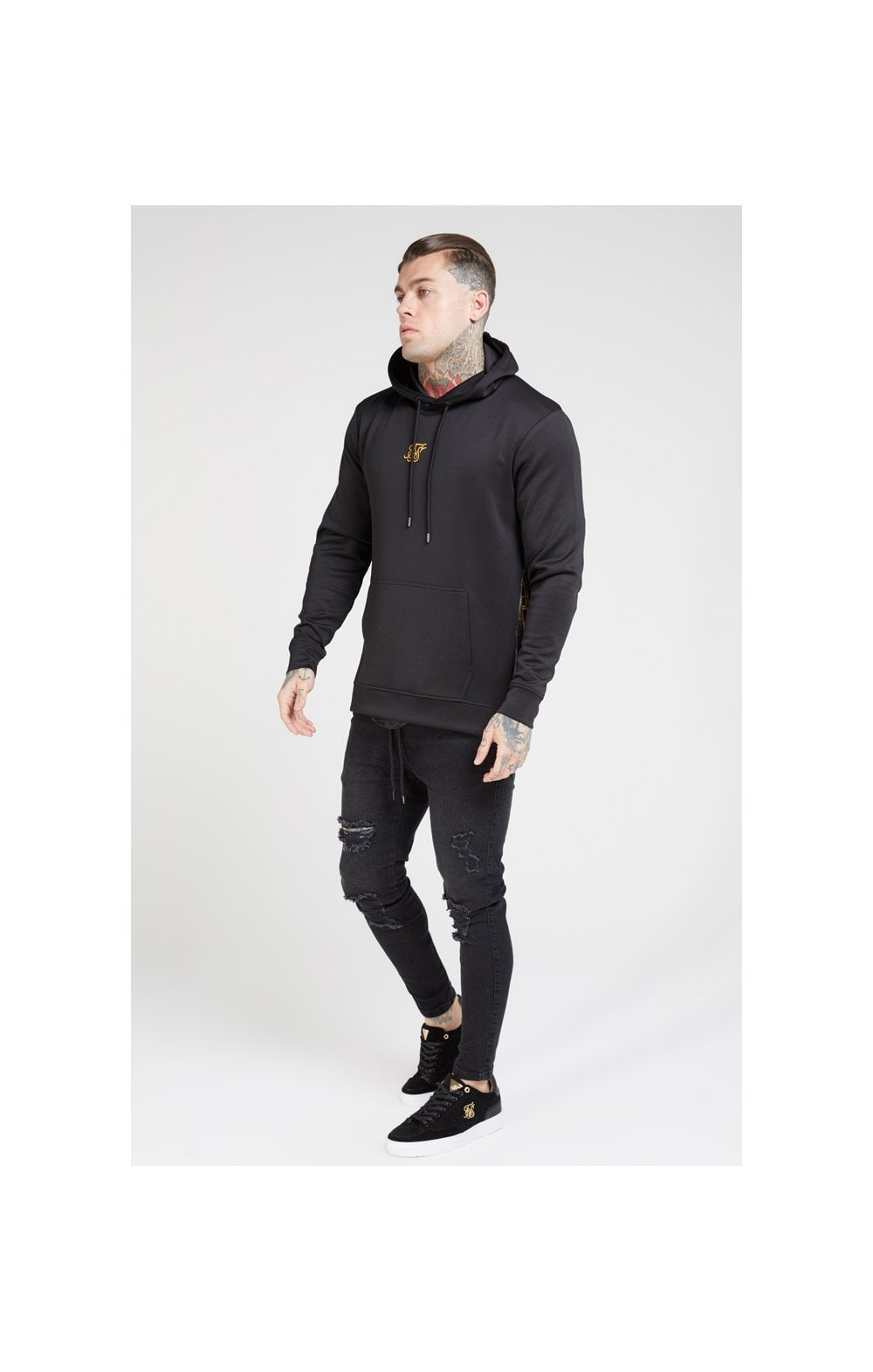 SikSilk Side Zip Tape Hybrid Hoodie - Black & Oil Paint (3)
